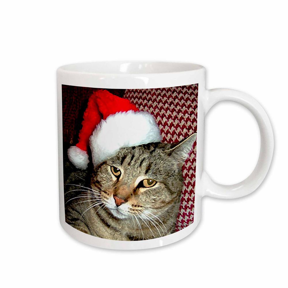 Holidays 11 oz. White Ceramic Cat Santa Mug