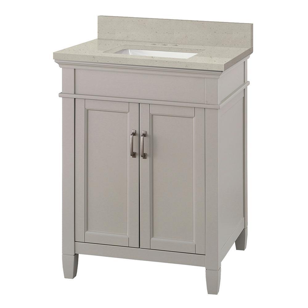 Ashburn 25 in. W x 22 in. D Vanity Cabinet in Grey with Engineered Quartz Vanity Top in Stoneybrook with White Sink