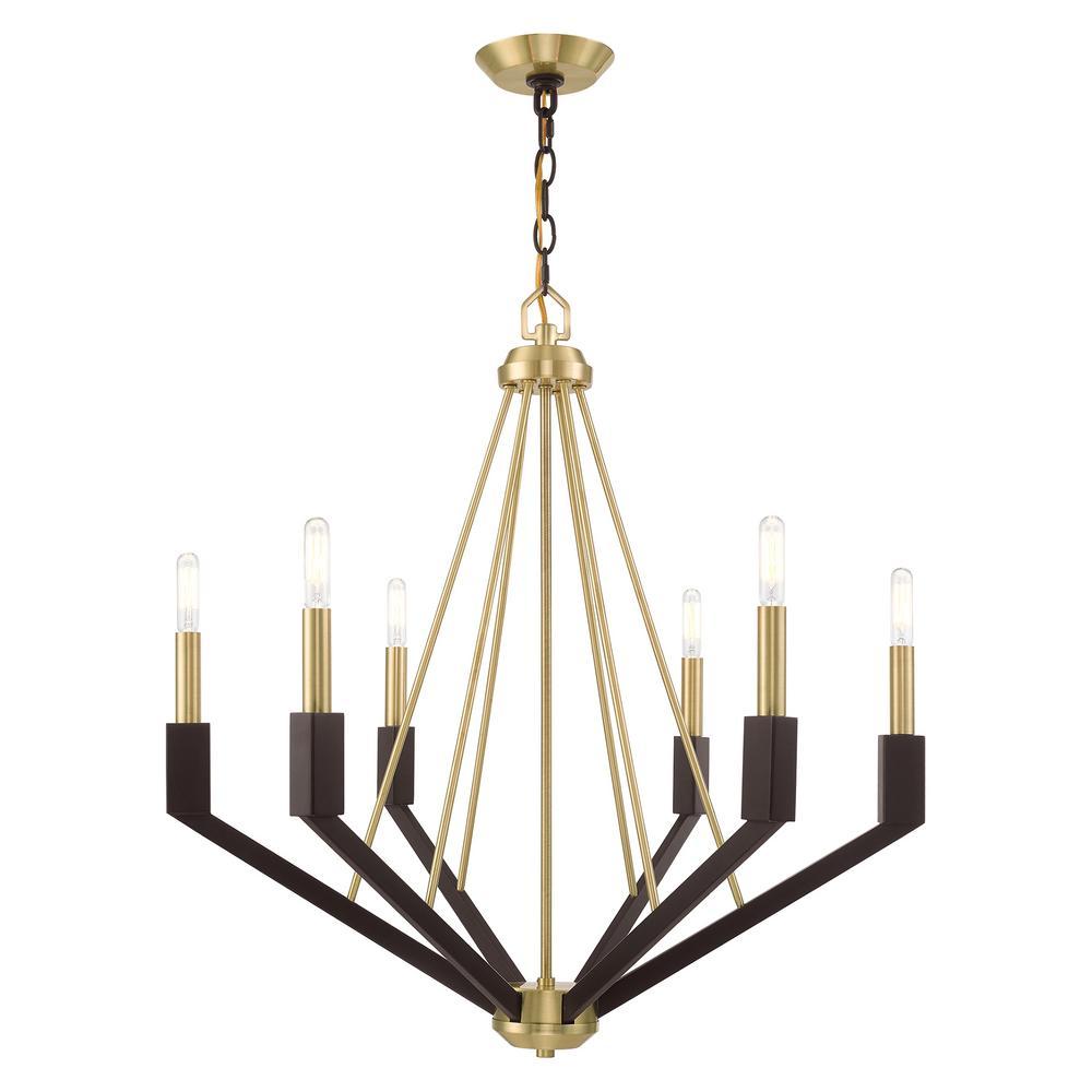Livex Lighting Beckett 6-Light Satin Brass and Bronze Chandelier