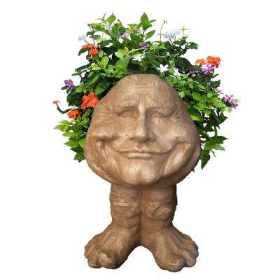18 in. Stone Wash Papa John the Muggly Statue Face Planter Holds 7 in. Pot