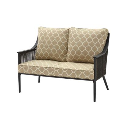 Bayhurst Black Wicker Outdoor Patio Loveseat with CushionGuard Toffee Trellis Tan Cushions