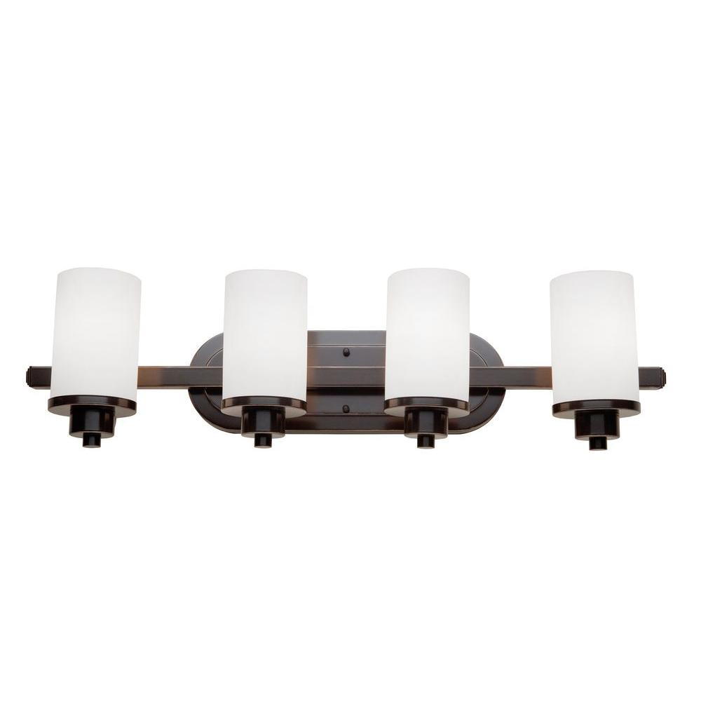 ARTCRAFT Parkdale 4-Light Oil Rubbed Bronze Bath Light Parkdale 4 lite bathroom vanity features its clean and simple design complimented with opal white glassware in rubbed oiled bronze finish