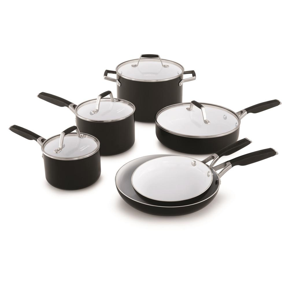 Select 10 Piece Ceramic Nonstick Cookware Set, Black/white