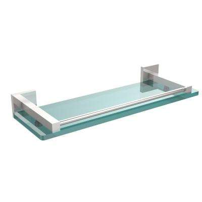Montero 16 in. L  x 2 in. H  x 5-3/4 in. W Clear Glass Vanity Bathroom Shelf with Gallery Rail in Polished Chrome