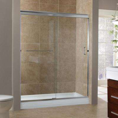 Marina 48 in. x 76 in. H Semi-Framed Sliding Tub Door in Silver with 3/8 in. Clear Glass