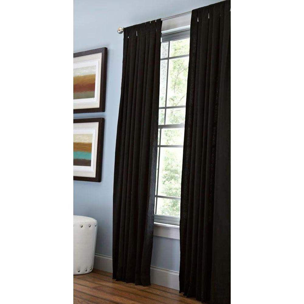 Martha Stewart Living Classic Cotton Light Filtering Window Panel in Silhouette - 50 in. W x 63 in. L