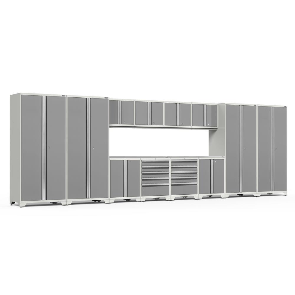 NewAge Products Pro 3.0 85.25 in. H x 256 in. W x 24 in. D 18-Gauge Welded Steel Garage Cabinet Set in Platinum (14-Piece)