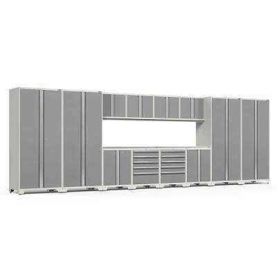 Pro 3.0 85.25 in. H x 256 in. W x 24 in. D 18-Gauge Welded Steel Garage Cabinet Set in Platinum (14-Piece)