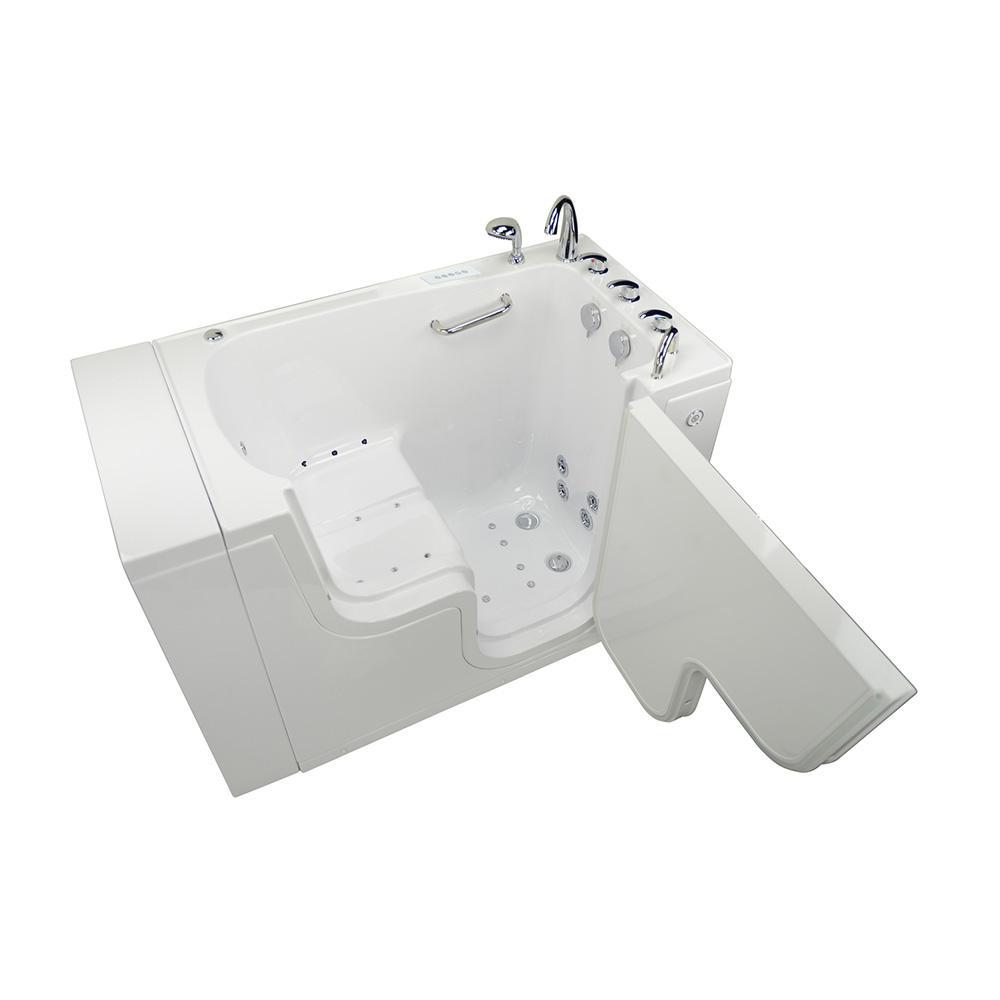 Wheelchair Transfer 52 in. Acrylic Walk-In Whirlpool and Air Bath Bathtub in White, Faucet, Heated Seat, RHS Dual Drain