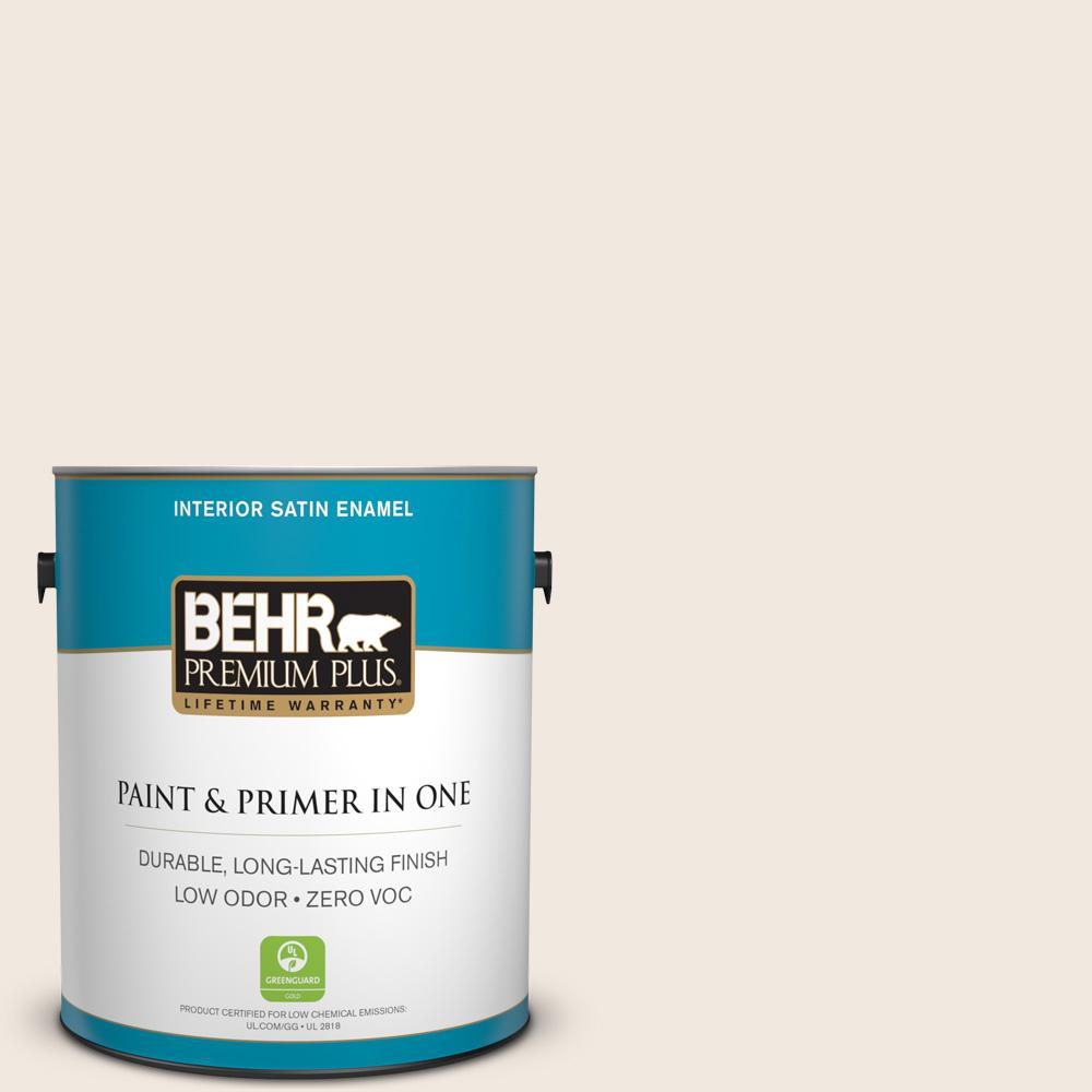 BEHR Premium Plus 1-gal. #ECC-57-2 Shady White Zero VOC Satin Enamel Interior Paint