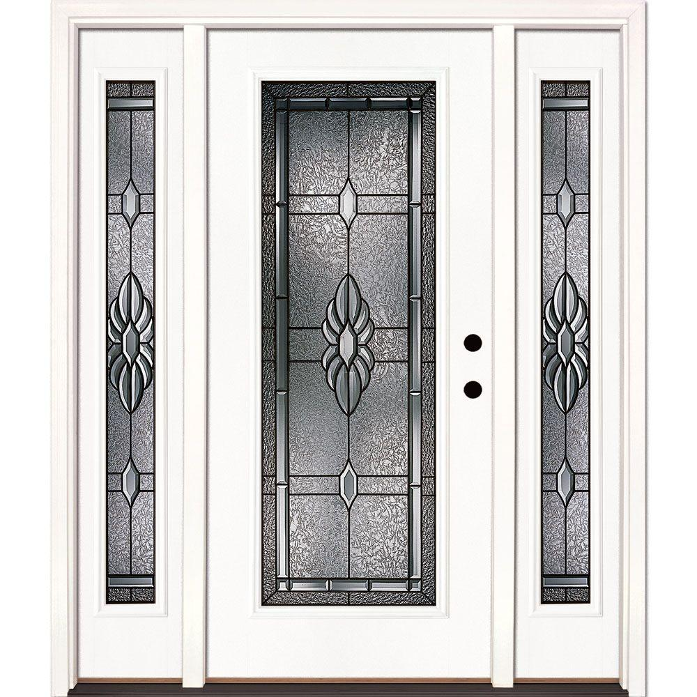 Feather river doors 63 5 in x in sapphire patina for White front door with glass