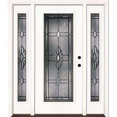 63.5 in. x 81.625 in. Sapphire Patina Full Lite Unfinished Smooth Left-Hand Fiberglass Prehung Front Door with Sidelites