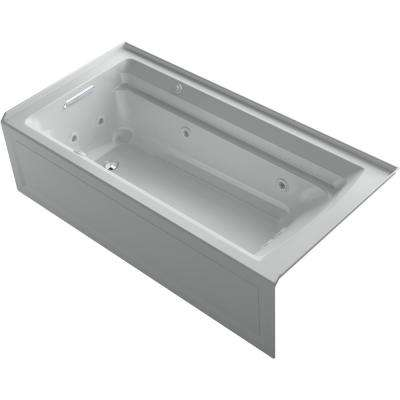 Archer 72 in. Left-Hand Drain Rectangular Apron Front Whirlpool and Air Bath Bathtub in Ice Grey