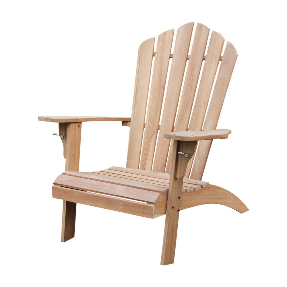 Heaton Teak Wood Adirondack Chair With Cup Holder