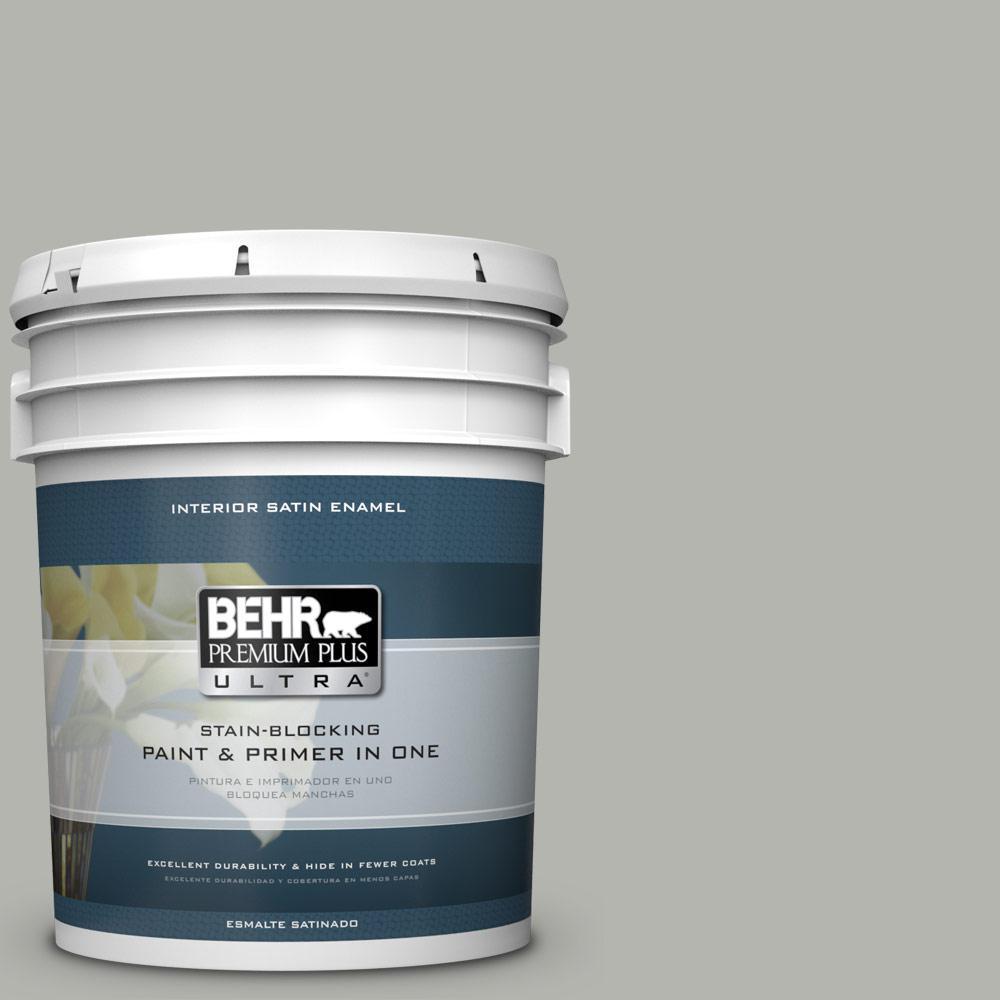 5 gal. #PPU25-08 Heirloom Silver Satin Enamel Interior Paint