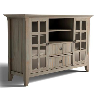 Acadian 53 in. Distressed Grey Composite TV Stand with 2 Drawer Fits TVs Up to 60 in. with Storage Doors
