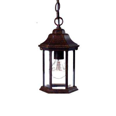 Madison Collection Hanging 1-Light Outdoor Black Coral Lantern