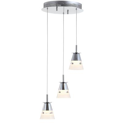 Alain 12.5 in. 3-Light Adjustable Cascading Metal Integrated LED Chrome Pendant