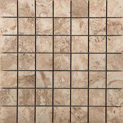 Homestead Beige 13.07 in. x 13.07 in. x 8mm Porcelain Mesh-Mounted Mosaic Tile