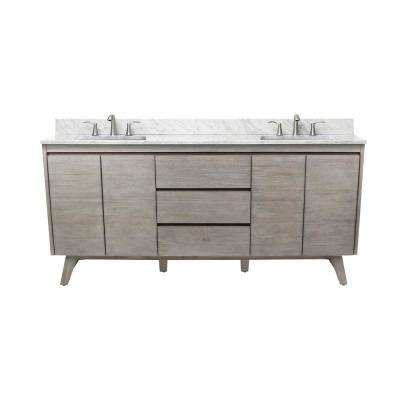 Coventry 73 in. Vanity in Gray Teak with Marble Top Vanity Top in Carrera White with White Basin