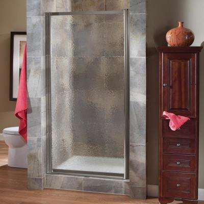 Tides 23 in. to 25 in. x 65 in. Framed Pivot Shower Door in Brushed Nickel with Obscure Glass with Handle