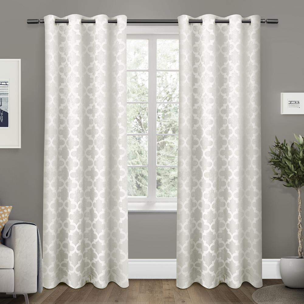 Cartago 54 in. W x 84 in. L Woven Blackout Grommet Top Curtain Panel in Vanilla (2 Panels)