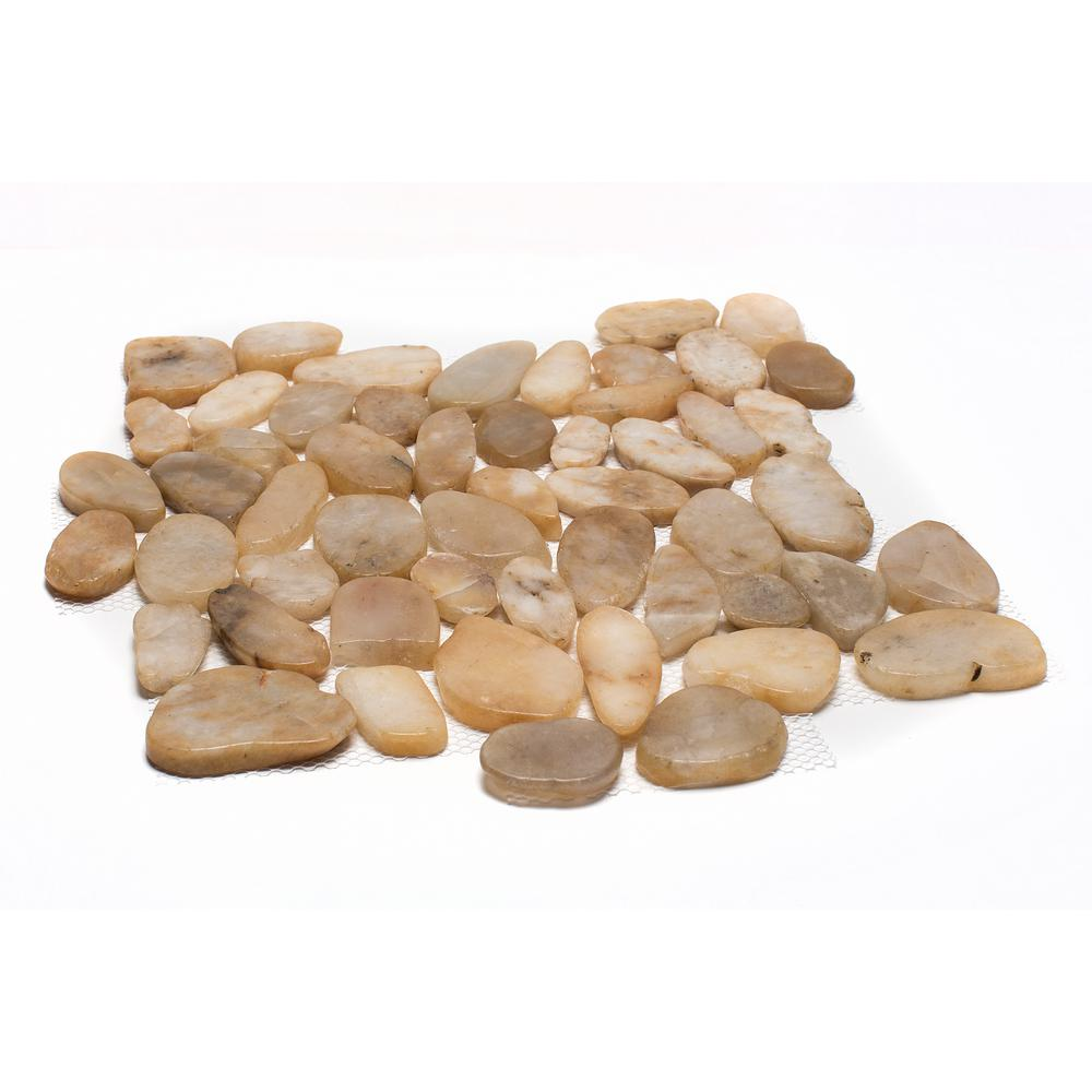 12 in. x 12 in. Yellow Sliced High-Polish Pebble Stone Floor