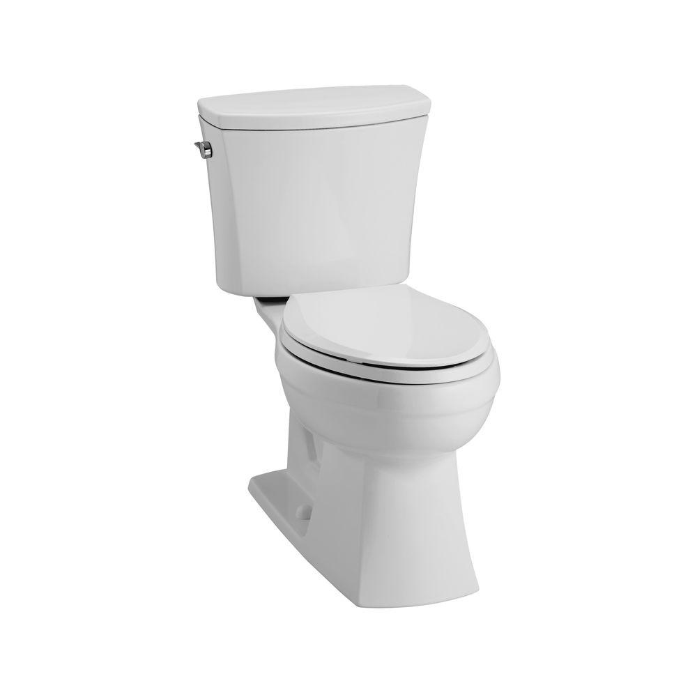 KOHLER Kelston Comfort Height 2-piece 1.6 GPF Elongated Toilet with AquaPiston Flushing Technology in Ice Grey