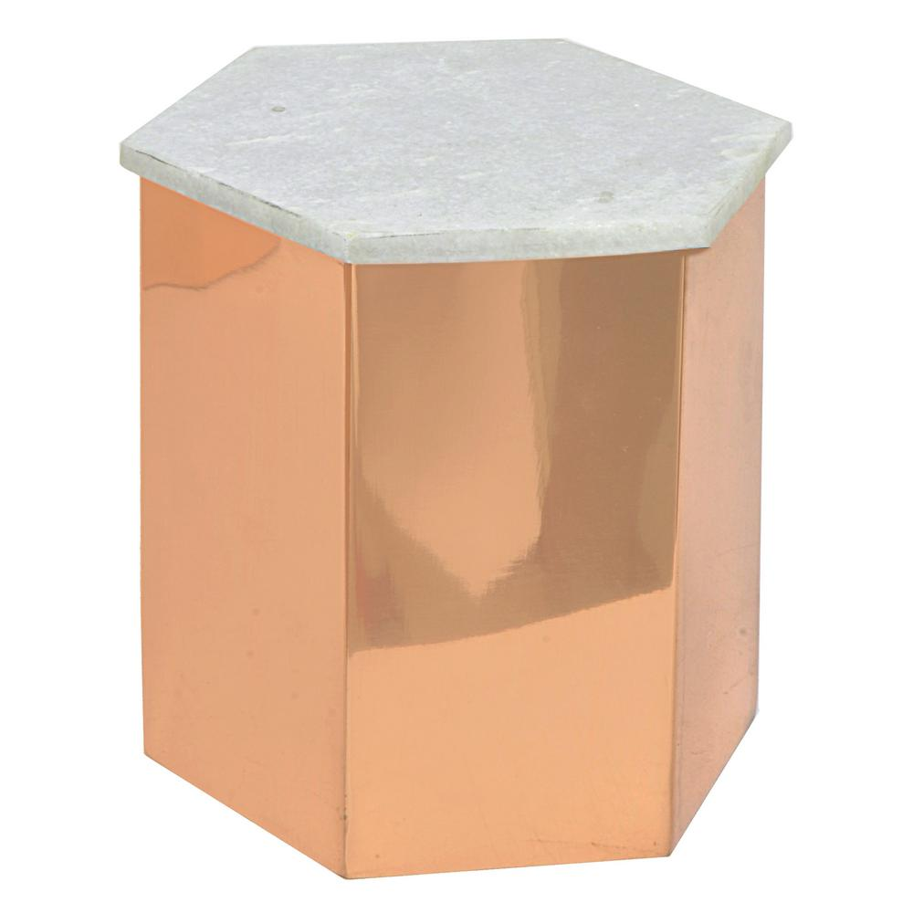 THREE HANDS Copper Metal Box with Marble Lid