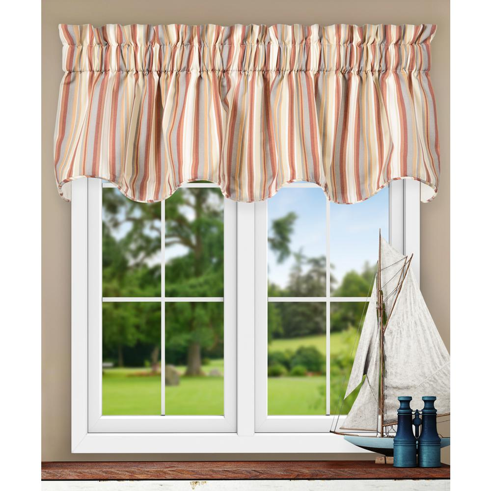 Ellis Curtain Mason Stripe 17 in. L Poly/Cotton Lined Scallop Valance in Clay