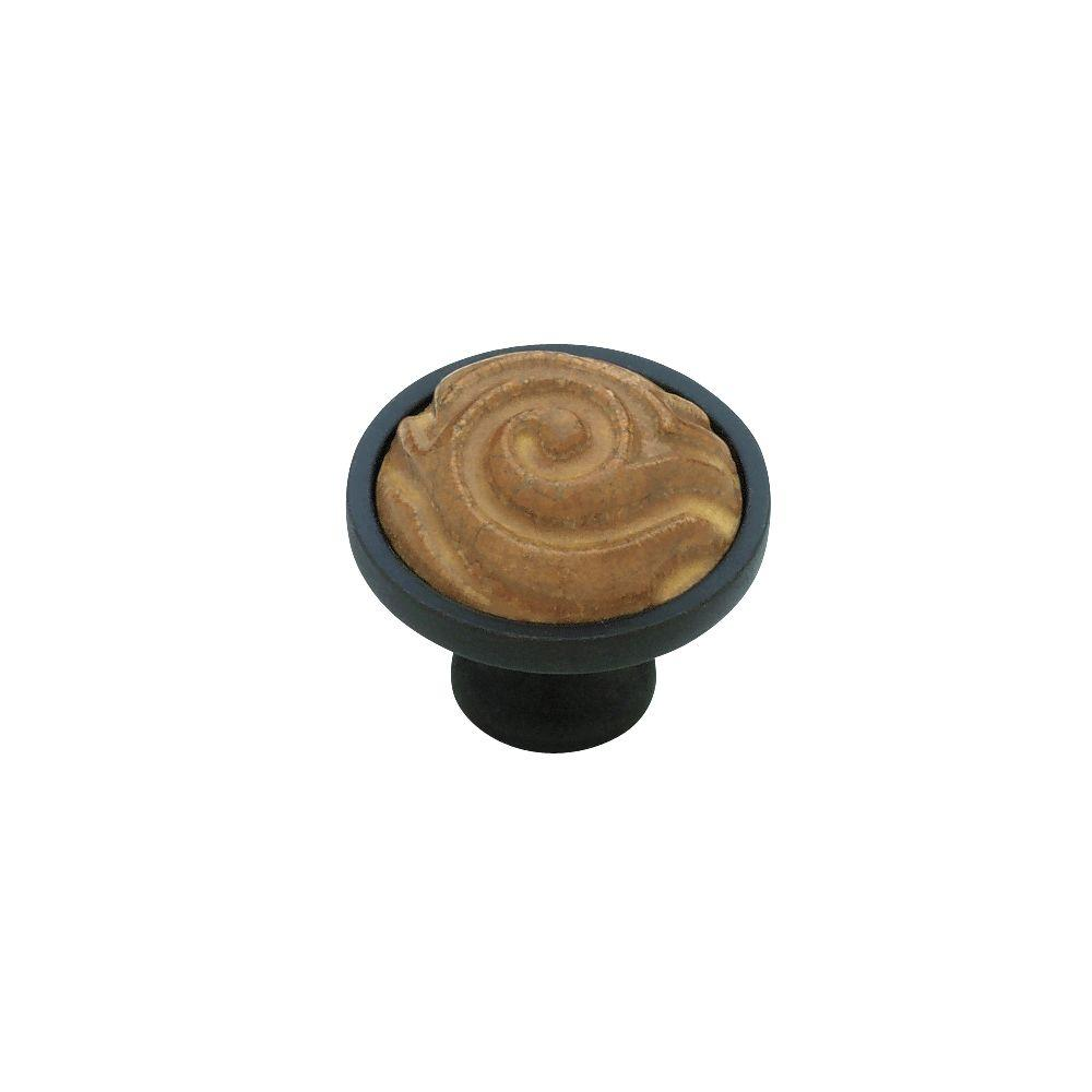 Liberty 1-3/8 in. Black with Ochre Ceramic Totem Insert Cabinet Knob