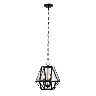 3-Light Contemporary Outdoor Pendant, Black