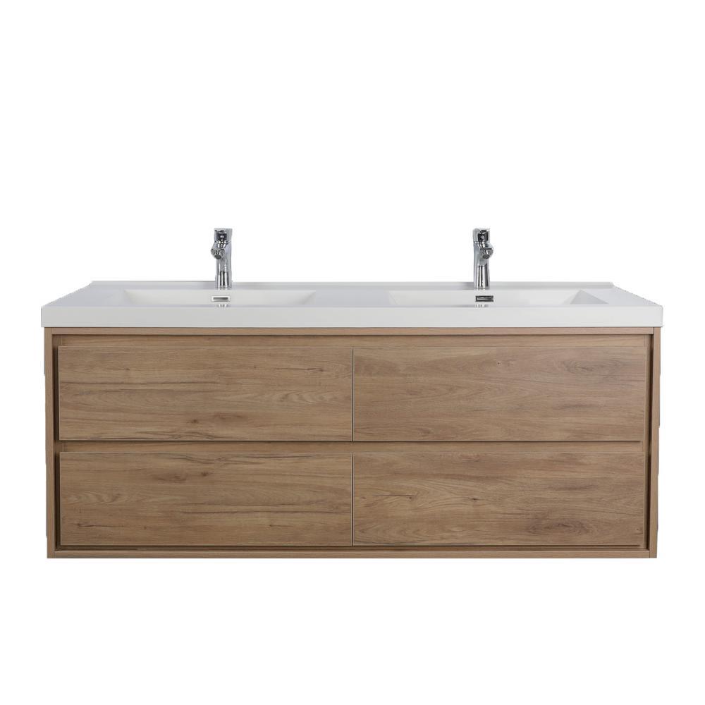 Sage 47 in. W Bath Vanity in White Oak with Reinforced Acrylic Vanity Top in White with White Basins