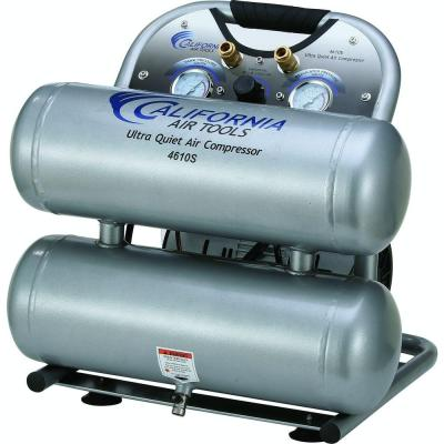 4610S Ultra Quiet and Oil-Free 1.0 HP, 4.6 Gal. Steel Twin Tank Electric Portable Air Compressor