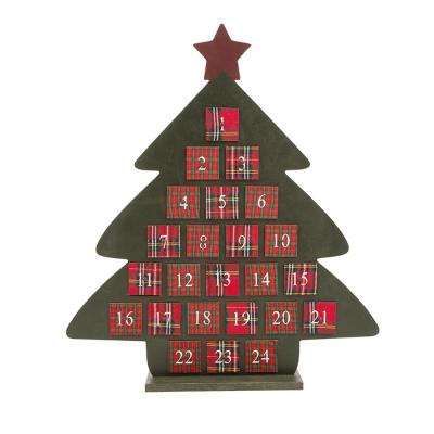 22 in. H Wooden Count Down Calender Tree with Drawer