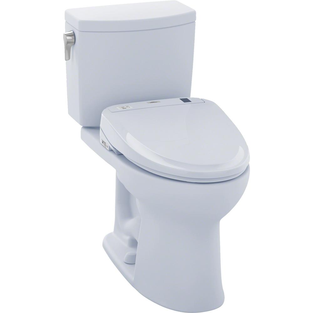 TOTO Drake II Connect 2-Piece 1.0 GPF Elongated Toilet with Washlet S350e Bidet and CeFiONtect in Cotton White