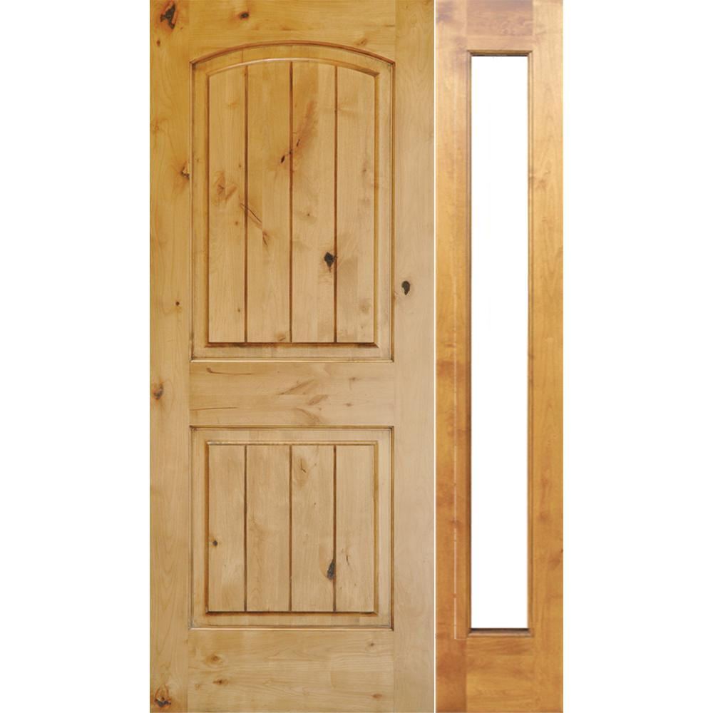 Krosswood Doors 46 in. x 80 in. Rustic Unfinished Knotty Alder Arch Top VG Left-Hand Right Full Sidelite Clear Glass Prehung Front Door