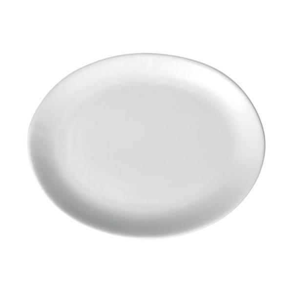 Oneida Buffalo 11 In X 8 1 2 In White Porcelain Narrow Rim Oval Coupe Platter 12 Piece F8000000355 The Home Depot