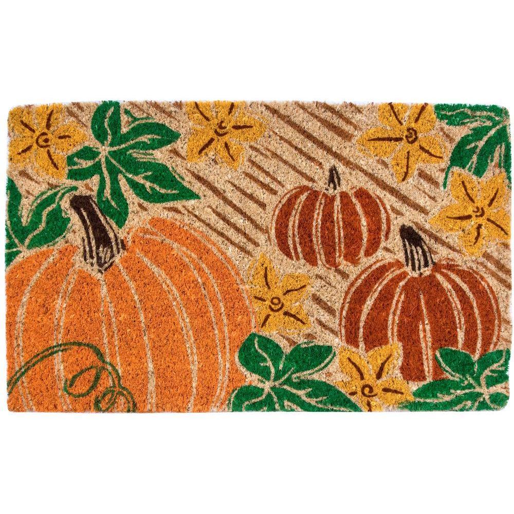 Entryways Pumpkin Patch 18 in. x 30 in. Coir Door Mat