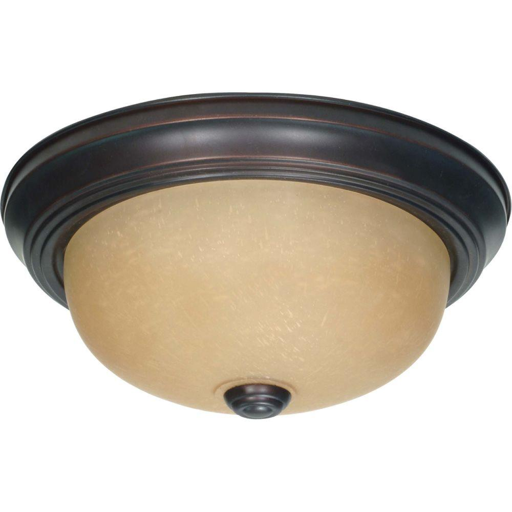 2-Light Mahogany Bronze Flushmount with Champagne Linen Washed Glass Shade