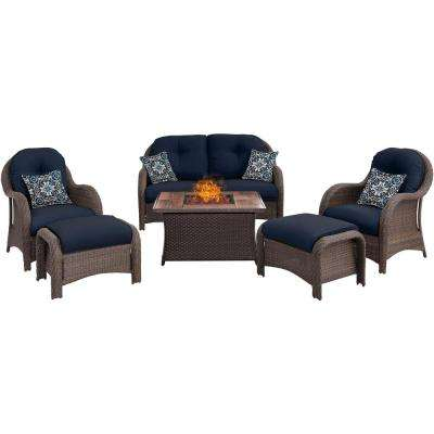 Newport 6-Piece Woven Patio Seating Set with Wood Grain-Top Fire Pit with Navy Blue Cushions