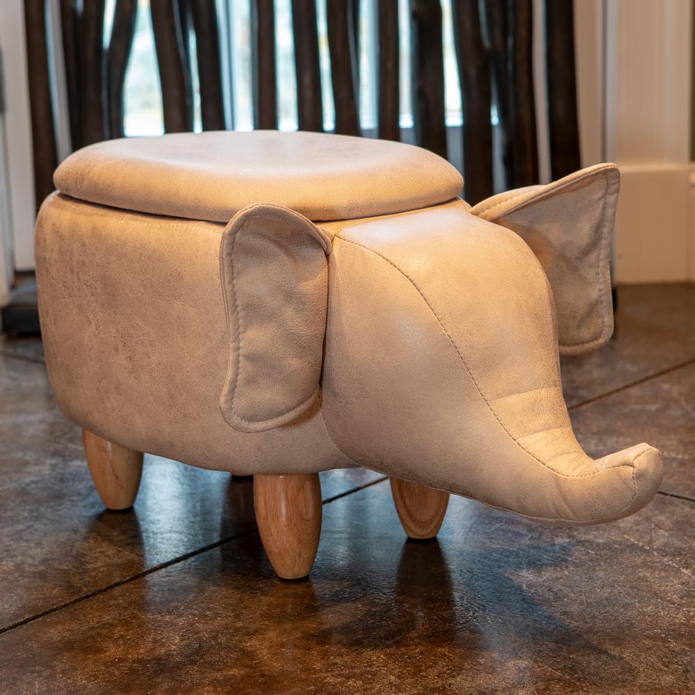 Elephant 15 in. Gray Storage Stool
