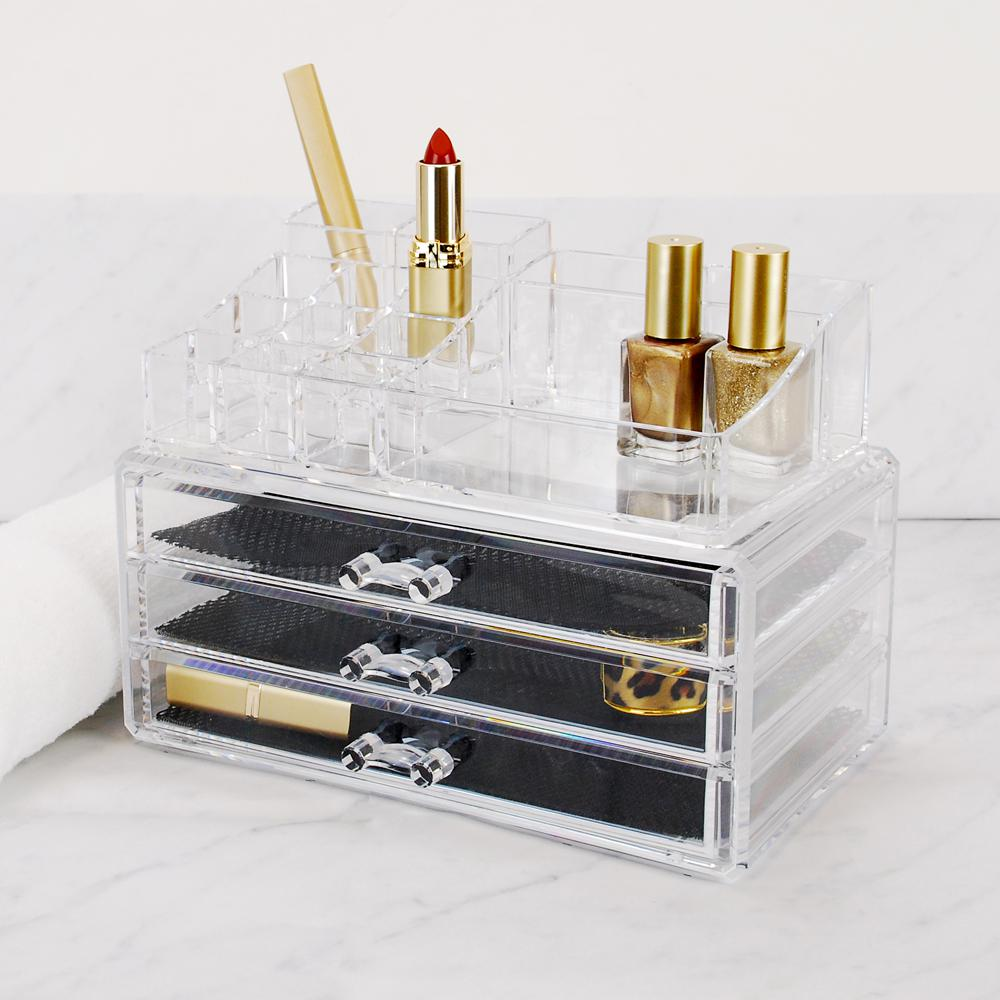 2-Piece Makeup and Jewelry Organizer, 14 Compartments/3 D...