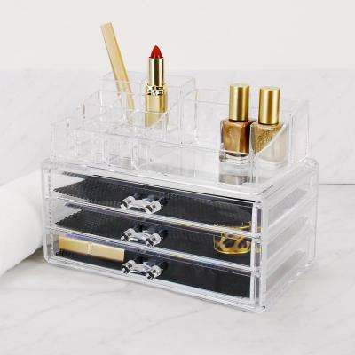 2-Piece Makeup and Jewelry Organizer, 14 Compartments/3 Drawers