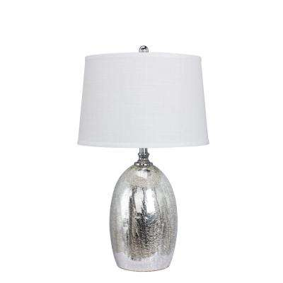 28 in. Silver Glass Table Lamp