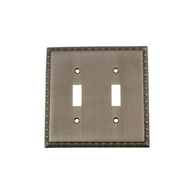 Egg and Dart Switch Plate with Double Toggle in Antique Pewter
