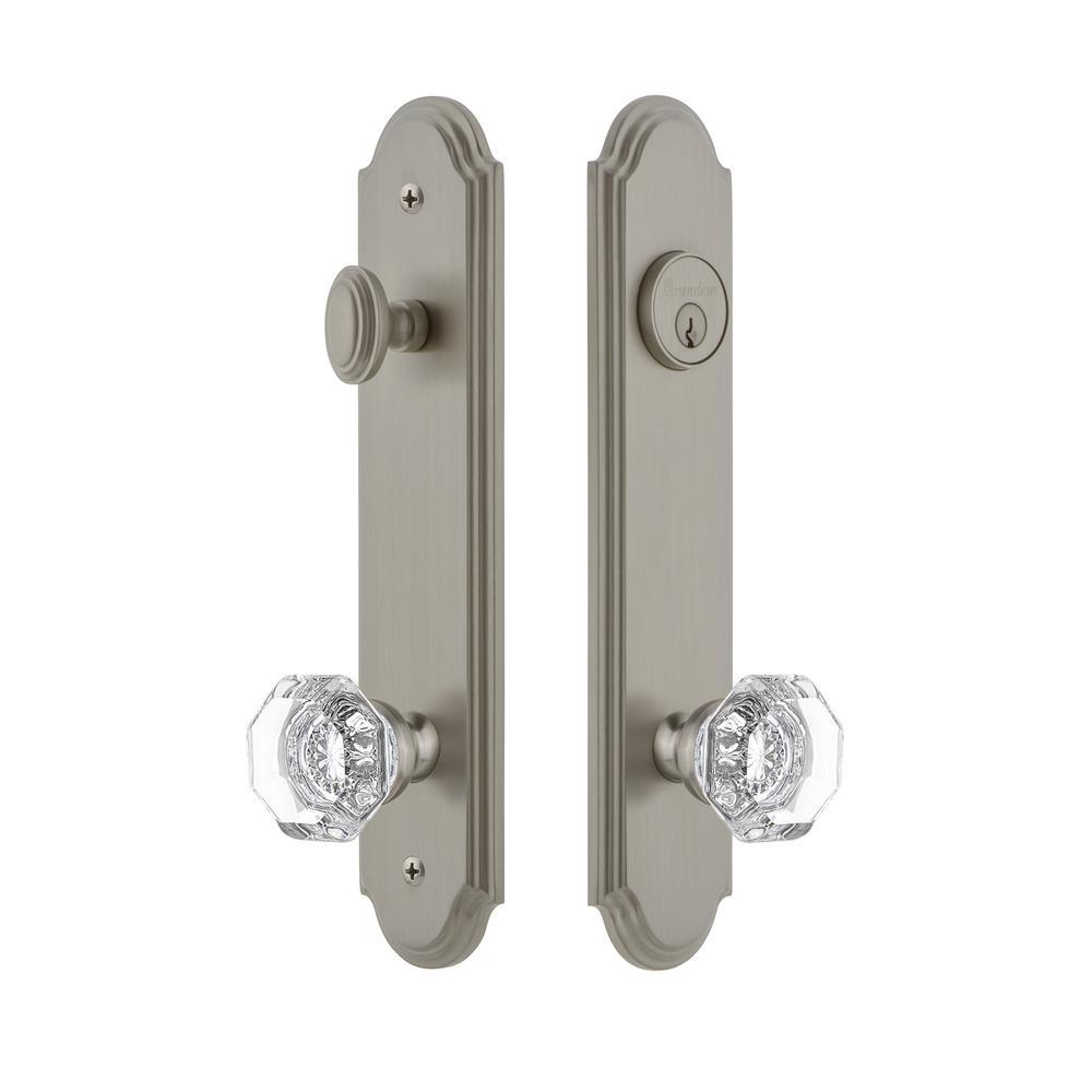 Arc Tall Plate 2-3/8 in. Backset Satin Nickel Door Handleset with Chambord Door Knob