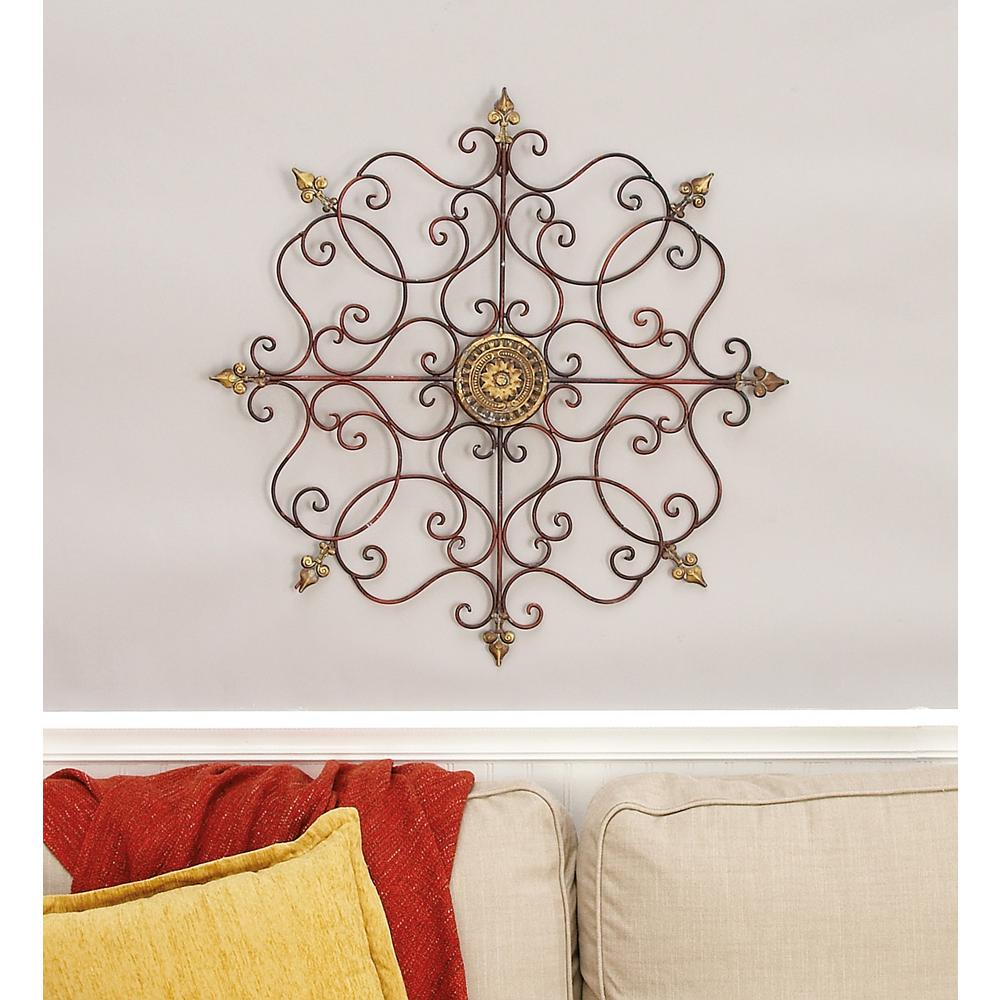 Iron Scrollwork Wall Decor Iron Bronze Patina Scrollwork Design Around Circular Central