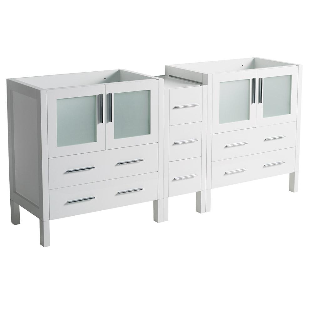 72 in. Torino Modern Double Bathroom Vanity Cabinet in White