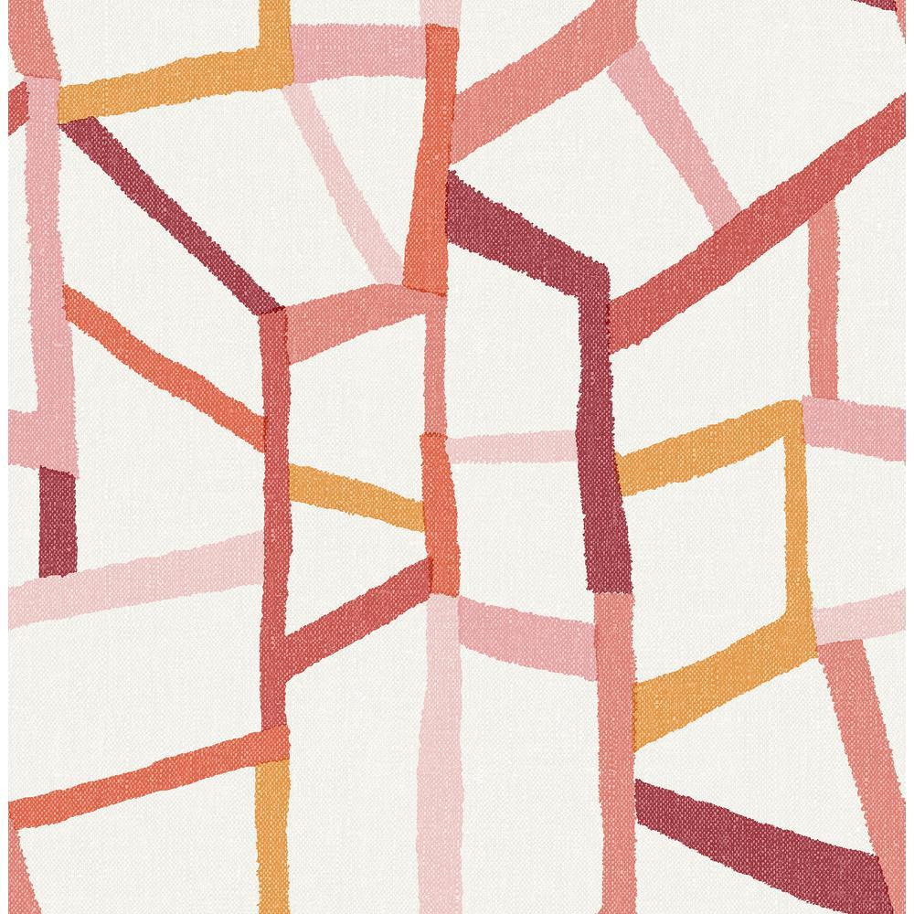 Benjamin Tate Pink Geometric Linen Wallpaper